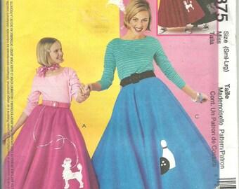 McCalls Pattern 3375 Misses 50's Sock Hop Top and Poodle Skirt Adult Costume (S-L) UNCUT