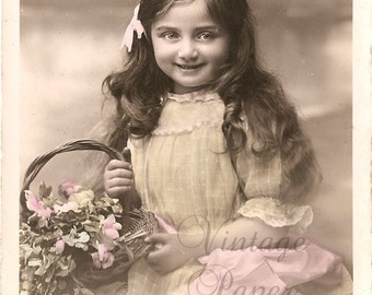 Antique French Postcard Beautiful Young Girl with Pink Hair Bow & Flower Basket Tinted Photo Post Card RPPC from Vintage Paper Attic