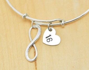Infinity Bangle, Sterling Silver Bangle, Infinity Bracelet, Bridesmaid Gift, Personalized Bracelet, Charm Bangle, Initial Bracelet