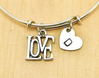 Love Bangle, Sterling Silver Bangle, Love Bracelet, Bridesmaid Gift, Personalized Bracelet, Charm Bangle, Monogram, Initial Bracelet