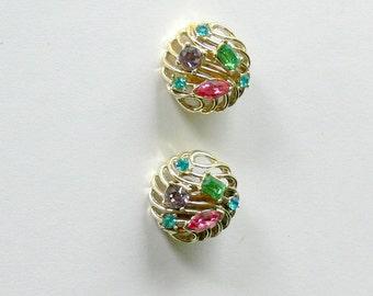 Kramer Big Rhinestone and Glass  clip Earrings