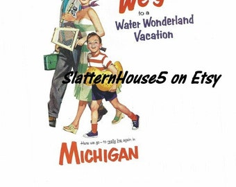 1960 Michigan State Water Park Ad Vintage Advertisement Travel Advertisement 1960 Travel Ad  Family Vacation Ad Michigan State Water