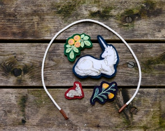 "Handmade Montessori Work. ""The Lady's Unicorn."" Embroidered Play Table Toy by Aly Parrott on Etsy"