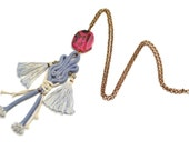 Talisman Necklace, Mojo Necklace, Knotted Pendant, Blue Tassel Necklace, Pink Agate Necklace, Mineral Necklace, Long Necklace