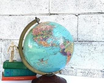 WORLD GLOBE   Vintage Replogle 12-inch Diameter Reference Globe   Mid-Century Desk Globe   late 1940's Globe   USSR   early Cold War Globe