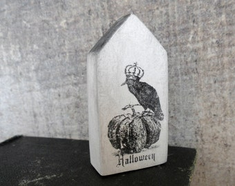Raven and pumpkin rustic Halloween decor, miniature clay house, white, black, vintage style, cottage, crow, witch, pumpkin, air dry clay