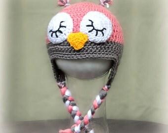 Crochet Owl Hat. Baby Owl Hat.