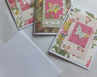 FLORAL Butterfly Cards, Thank You, Set of 3