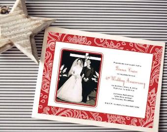 Personalized - 40th Wedding Anniversary Invitation - Ruby Red - Custom Printable