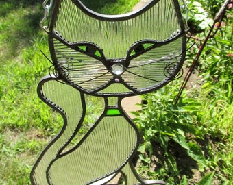 Cat Sitting Pretty Stained Glass Clear Chord