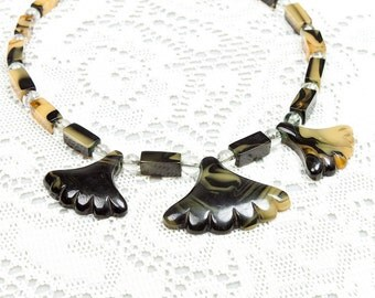 Vintage Rare 1920s Marbled Bakelite Egyptian Revival Lotus Necklace