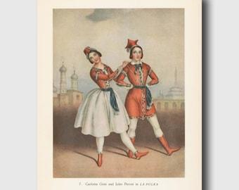 Ballet Print (1940s Vintage Ballet Wall Art to Frame) Exotic La Polka Ballet Illustration No. 7