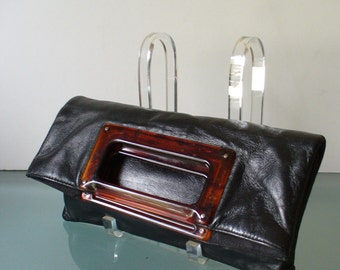 Vintage Lucite Pilgrim Buckle Foldover Clutch Bag