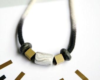 Black Ombre Cord Necklace