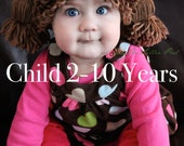 Cabbage Patch Kid Inspired Crochet Hat Wig, CHILD sizes, Age 2-10 Years Old, Made to order
