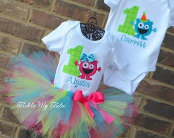 Boy/Girl Twin Monster Mash Party Themed Birthday Outfits-Twin Monster Party Outfits-Monster Twin Birthday Sets-Monster First Birthday Outfit