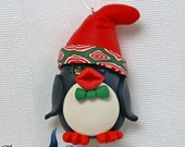 Personalized Christmas Ornaments ~ Penguin Ornament ~ Cute Penguin Ornament in Polymer Clay by Classon Creations
