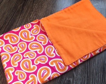 Tangerine/Pink Paisley Cozy Flannel Baby Blanket