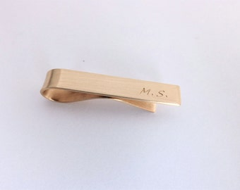 Personalized Standard or Skinny Tie Bar, Handcrafted in Brass