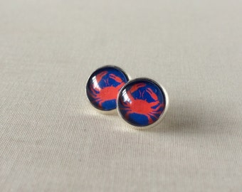 Red and Blue Crab Stud Earrings