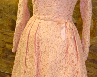 PINK CHANTILLY LACE vintage 1960's party dress 60's xs