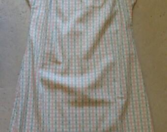 MELON GREEN ORANGE vintage shift dress with belt S petite