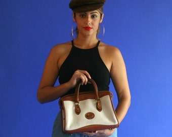 dooney and bourke leather purse/ white and tan leather satchel handbag/ 1980s