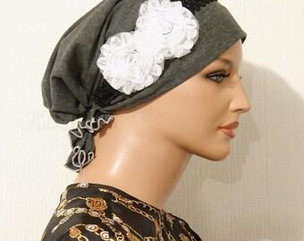 Tznius Modest Pre-tied Tichel Scarf Bandanna Snood Mitpachat Cotton Gray Black White Flower