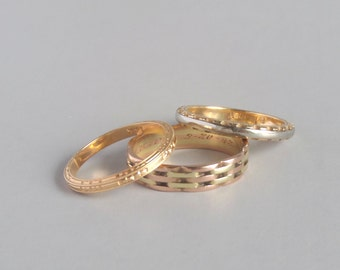 White and Yellow Gold Wedding Ring. Geometric / Mechanical. Size 6.5
