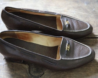Rare Vintage Gucci Brown Ostrich Loafers / Gold Signature GG Horsebit / Size 38.5 8