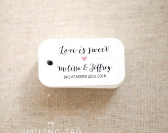 Love is Sweet Wedding Favor Tags - Personalized Gift Tags - Custom Wedding Favors Tags - Bridal Shower Tags - Set of 40 (Item code: J540)