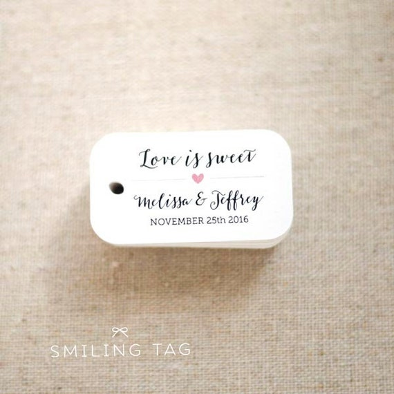 Love is Sweet Wedding Favor Tags - Personalized Gift Tags - Custom ...