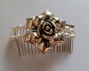 Ivory Pearl Silver Metal Flower Hair Comb, for Bridal, weddings, bridesmaids, parties, special occasions