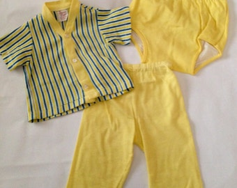 Vintage Baby Boys' Cotton Knit Shirt Pants Diaper Cover Set Birdy Togs 6 12 Months