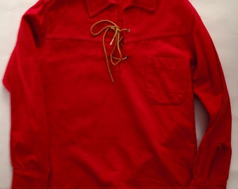 Vintage 1950s 60s Boys Red Flannel Lace Up Western Shirt by Western Wear 10 12