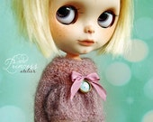 LAVANDER HONEY Mohair Sweater And Velvet Shorts For Blythe By Odd Princess Atelier, Pink, Lilac, Hand Knitted Outfit