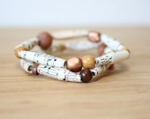 Sheet Music Recycled Paper Bead Bracelet Set, Stacked Bracelet Set Perfect for Music Teacher, Music Lover Gift, Sheet Music Jewelry