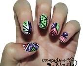 Nail polish strips. TWO SETS of nail decal wraps. Neon Zig Zag nail art patten.