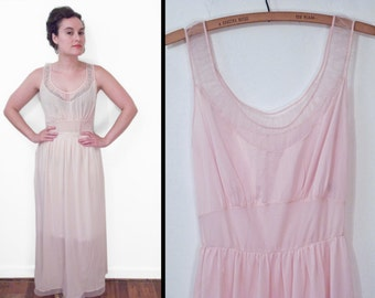 1950s FAERIE Nightgown Sheer Pink Lingerie Slip Dress 34 Dainty