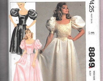 Vintage 1980's McCall's 8849 Bridal, Bridesmaid, Or Formal Evening Gown With Big Puffy Sleeves, Princess Bodice, Scoop Neck, Size 16, UNCUT