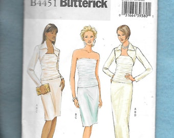 Butterick 4451 Misses' Bandeau Top, Shrug Jacket And Straight Skirt, Long Or Short With Bolero Jacket, Sizes 14 To 20, UNCUT