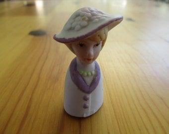 Vintage Porcelain Thimble Lady in hat Purple and White