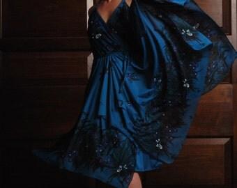Sweet Tropic Wonder 1960s Vintage Simon Sez Phthalo Blue Tropical Floral Print Handkerchief Layered Bohemian Dress Sz 12 / Medium / Large