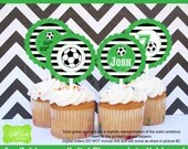 Soccer Cupcake Toppers - Soccer Party Circles - Sports Toppers -  Sports Cupcake Toppers - Digital and Printed Available