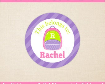 Personalized School Stickers - Monogram Backpack Stickers - Kids School Stickers - Back to School Stickers - Digital and Printed