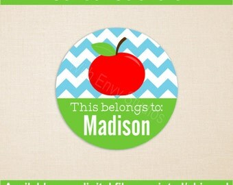 Personalized School Stickers - Apple Stickers - Kids School Stickers - Back to School Stickers - Digital and Printed