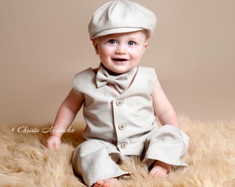 Ring Bearer Outfit, Ring Boy Outfit, Boy Photo Outfit, Boy First Birthday Outfit, Baby Boy, Ring Bearer Suit, Tan Ring Bearer, Khaki Suit