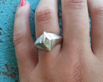 Superhero Ring in solid Sterling Silver, handmade silver jewelry, geometric ring, silver diamond ring, unique silver ring, abstract ring