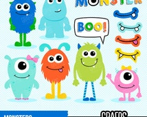 MONSTERS - Digital Clipart Set, Monsters Clip Art , Photo Booth Monsters, Printable Photo Booth Props