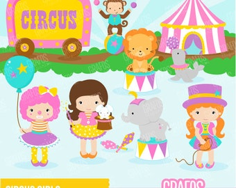 CIRCUS GIRLS - Digital Clipart Set, Circus Clipart, Clowns Clipart, Animals Clipart.